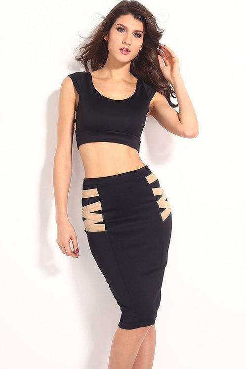 Black & Beige strap Crop Top & High Waist Skirt Set