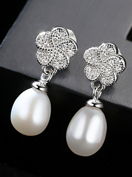 925 Sterling silver micro-set zircon 8-9mm natural pearl earrings