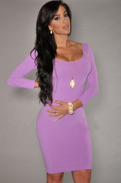 Lilac U-Neck Long Sleeves Bodycon Dress