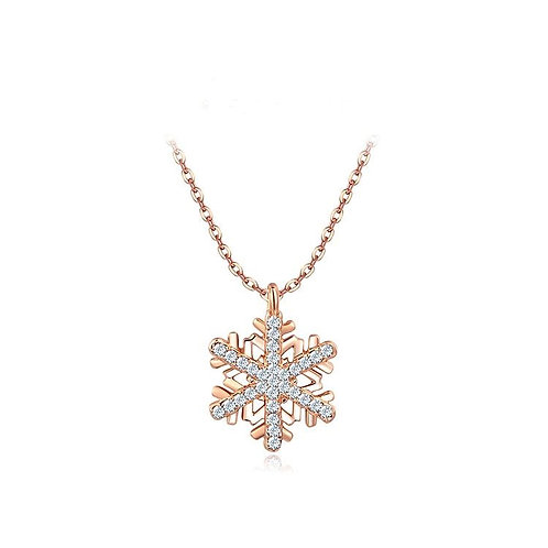 Christmas flower Rose colour gold plated Pendant & chain with matching earrings