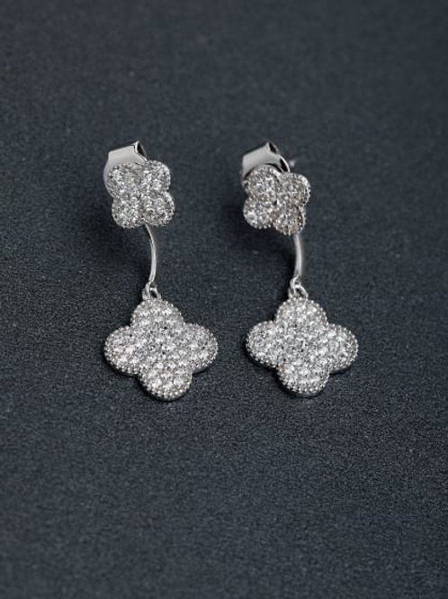 Silver Micro inlay Zircon Clover very sparkly shaped 925 silver Drop Earrings