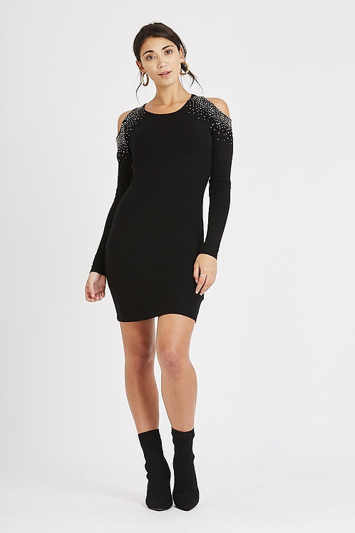 Cold shoulder embellished Knitted classic dress
