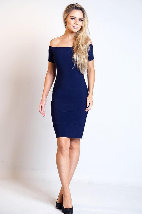 VIP Navy Bardot off shoulder Bandage Dress