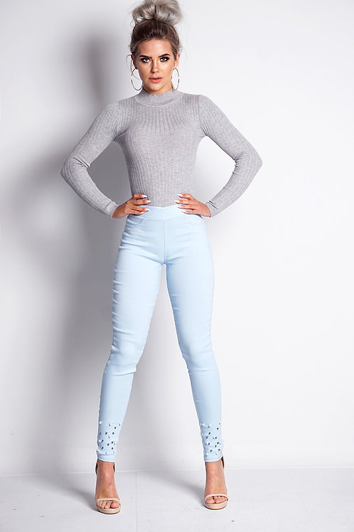 Pale blue Jeggings with pearl embellishment