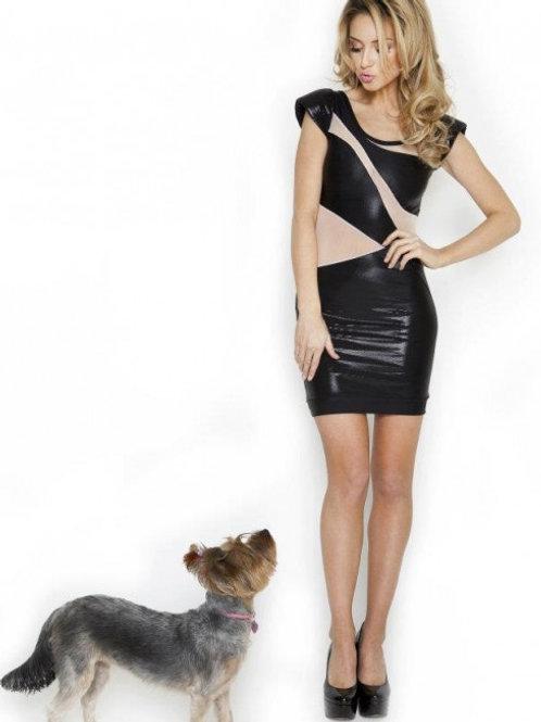 Designer Black and sheer pale pink colour dress