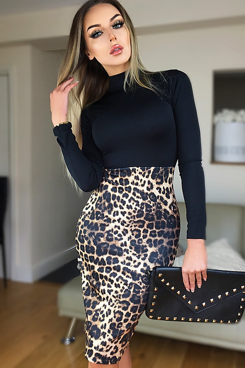 Black ANIMAL PRINT DRESS