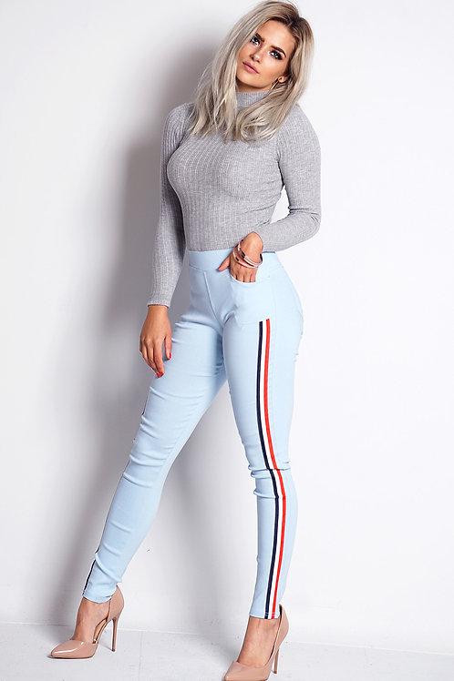 Pale blue stripe lightweight jeggings