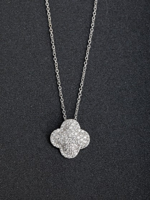 Silver 925 Lucky clover Zirconia Pendant and 18″ chain