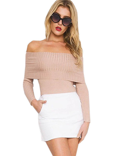 Pale pink Bardot off shoulder ribbed jumper