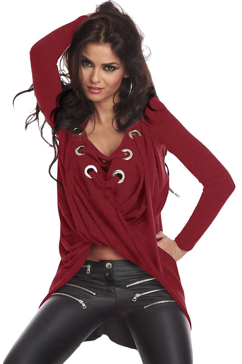 Wine-Lace-Up-Long-Sleeve-Ruched-Pullover-Shirt