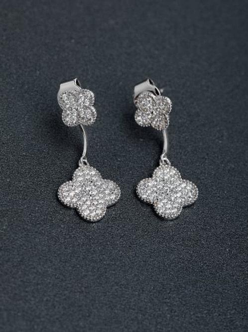 Silver Micro inlay Zircon Lucky Clover 925  Drop Earrings sj9589