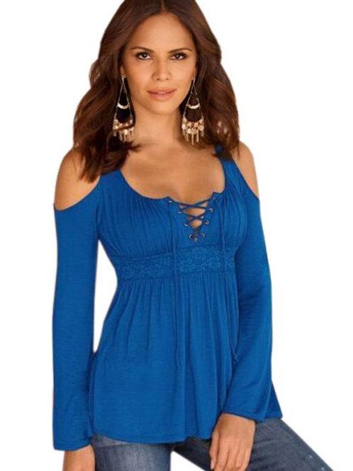 Royal blue cold shoulder top
