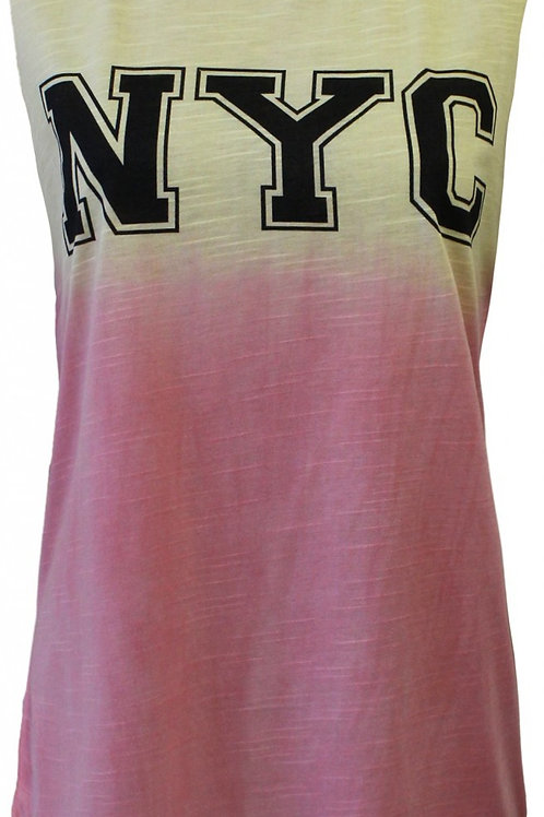 Peach and Yellow tee shirt NYC symbol