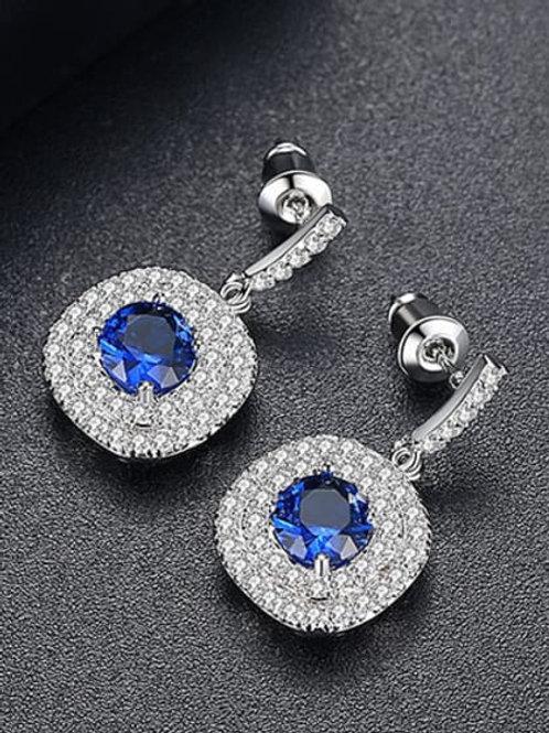 Platinum Plated Pure White Blue/white stone Zircon stone earrings
