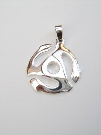 Solid silver record 45 rpm spider insert pendant