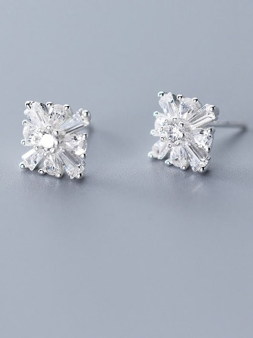 Sterling Silver 925  With Platinum Plated Simplistic Square Flower Stud Earrings