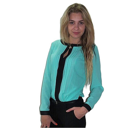Classic Pale blue and black chiffon blouse/top