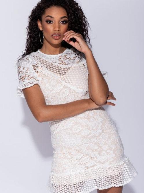 Classic white Multi Lace Frill Detail Mini Dress