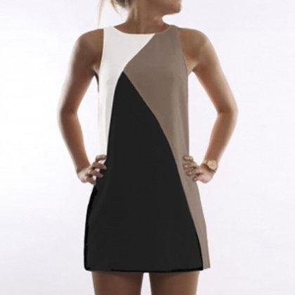 Classic Cream/tan and black A line dress