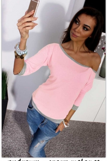 Pink and grey Round Neck Half Sleeve Casual Top