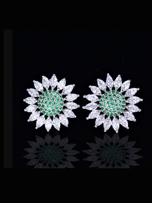 Copper inlaid white with green & white zircon sunflower stud earrings