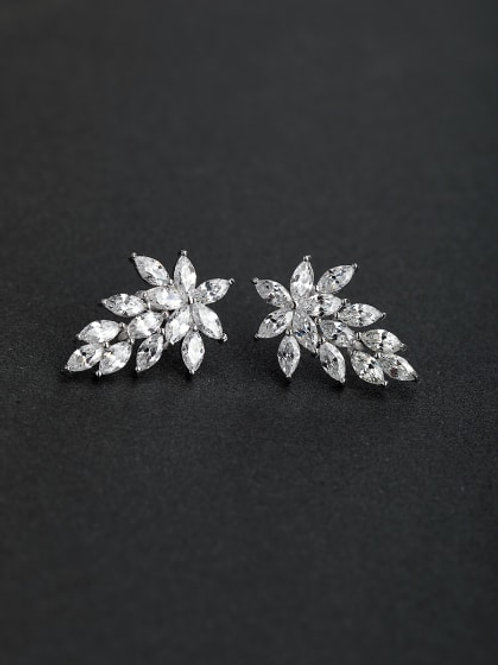 VIP Luxury zircon Leaf 925 silver Stud earrings