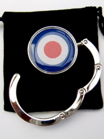 Silver plated mod, 60's target handbag hanger