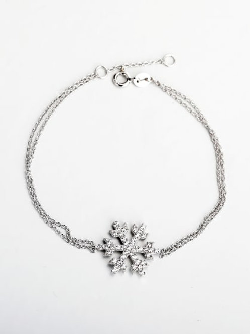 Silver Rhinestone snowflake double chain 925 Bracelet