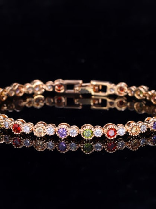 Gold plated Copper inlaid AAA zircon coloured blazed Bracelet