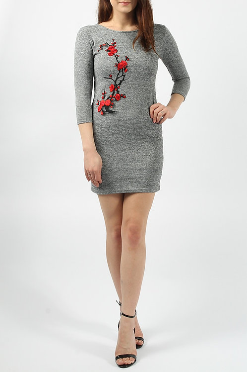 Grey flower design knitted classic dress