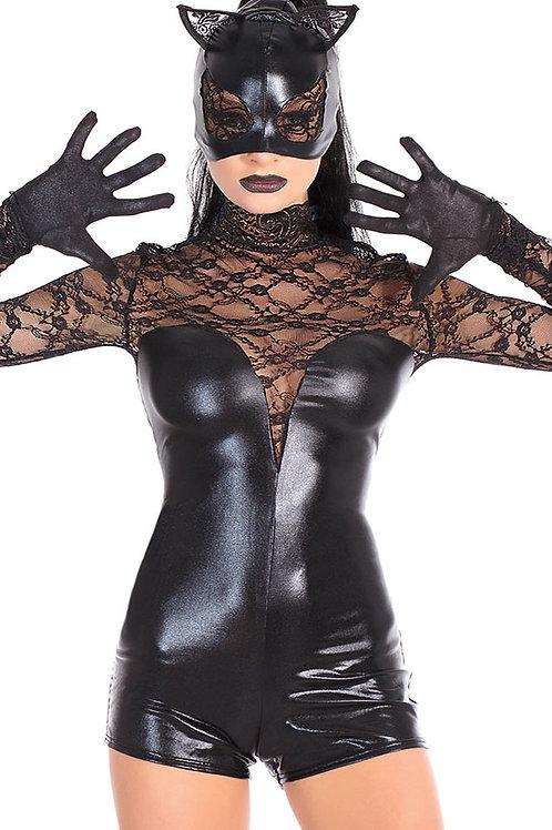 Black lace cat fancy dress costume