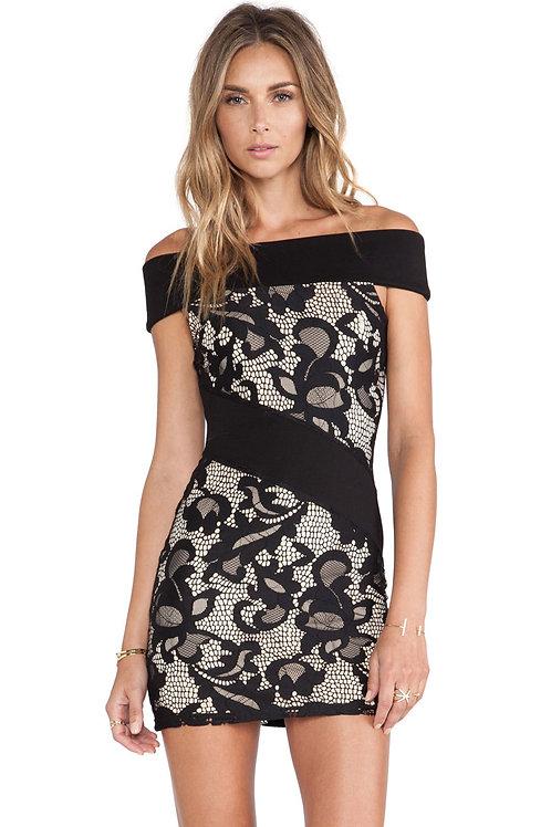 Black Off-the-shoulder body con lace Mini Dress