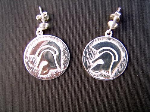 Silver Trojan earrings custom made