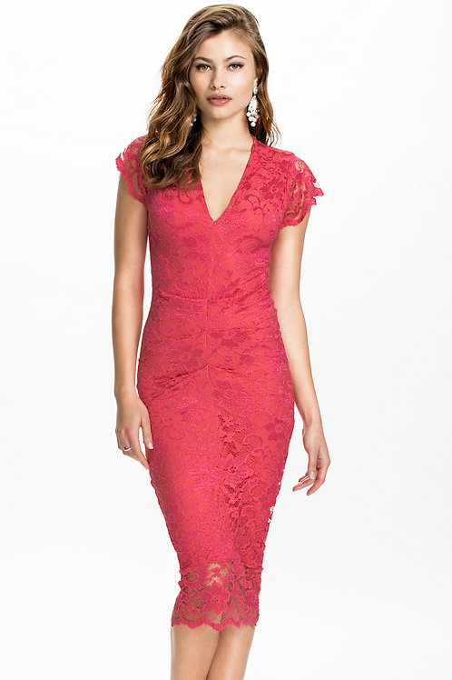 Classic Pinky/Red colour midi lace dress