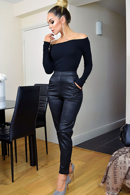 Black Moc Croc print trousers