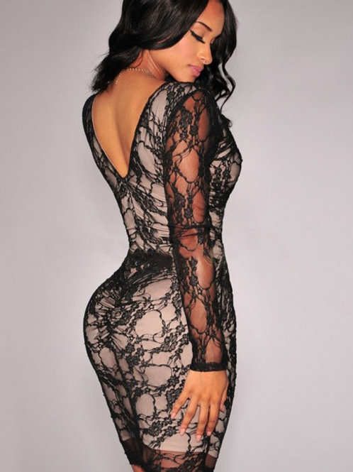 Black lace nude lined ruched body con dress