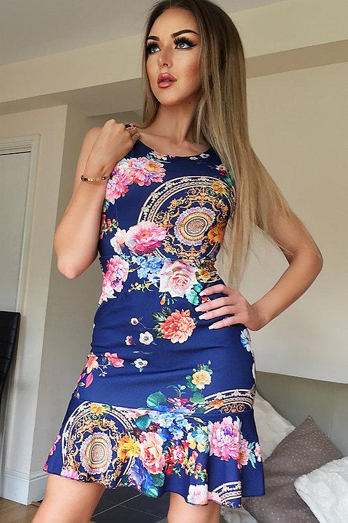 Blue multi coloured floral dress