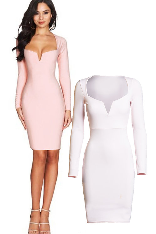 Pale Pink celeb inspired plunge neck long sleeved body con dress