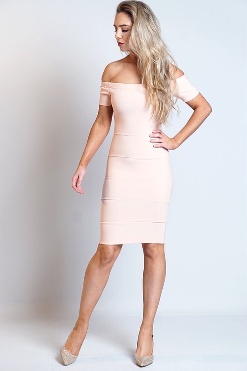 Peach off shoulder Bardot bandage style dress