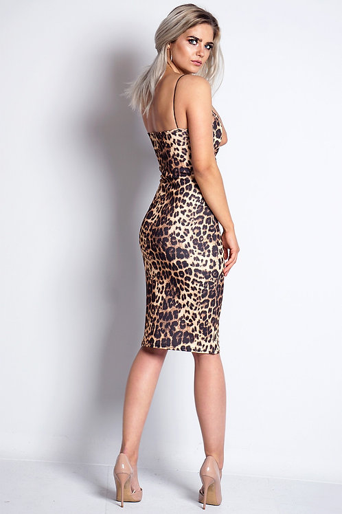Stunning V Plunge animal print body con dress