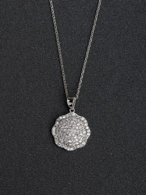 Silver Micro inlay white Zircon Flower 925 Pendant & chain