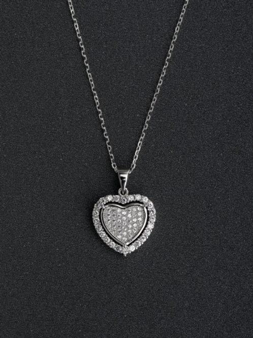 Silver 925 Heart Zircon Pendant & 18″ chain