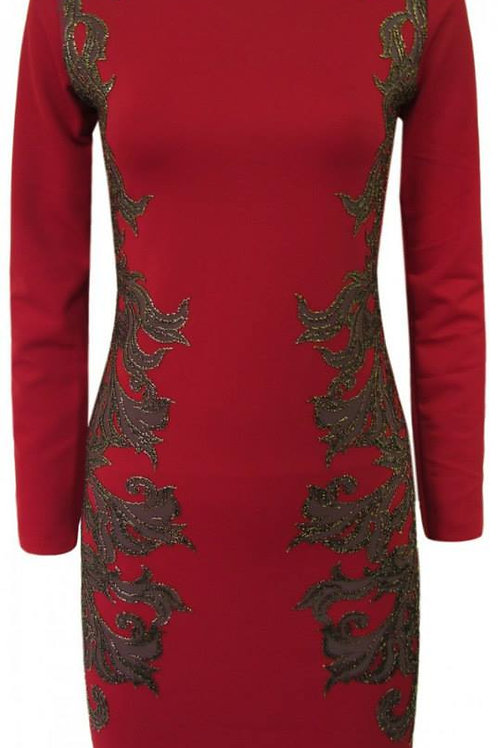 Red and embellished gold black pattern last one size 10