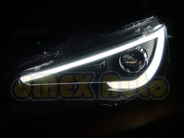Mitsubishi Lancer CJ CF & EVO X 07 Black 3D LED DRL Bar Projector Head Lights