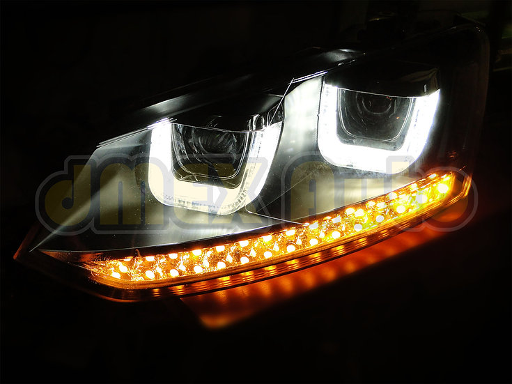 VolksWagen VW POLO 6R 10-16 Black R Style LED DRL Projector Head Lights