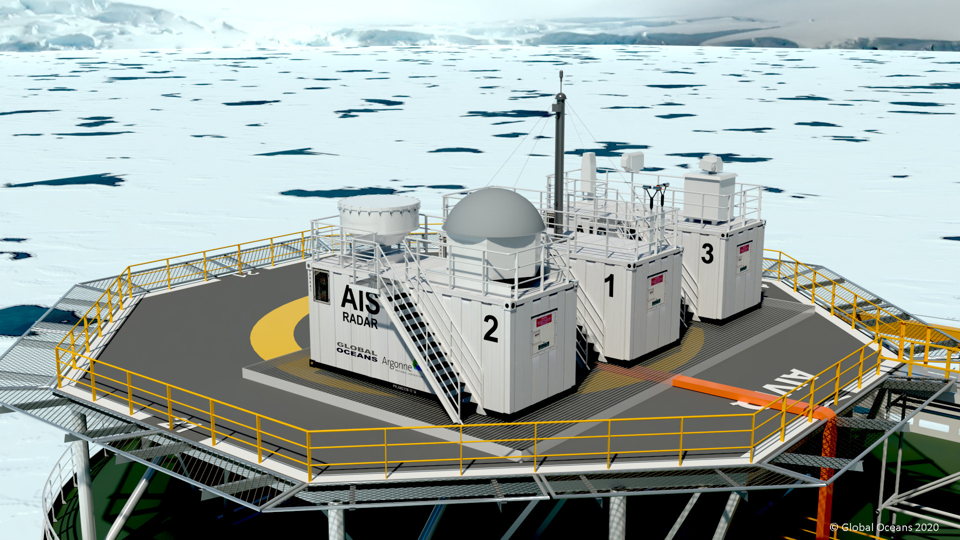 Figure 2: AIS Observatory deployed on the 110-meter Aiviq Icebreaker.
