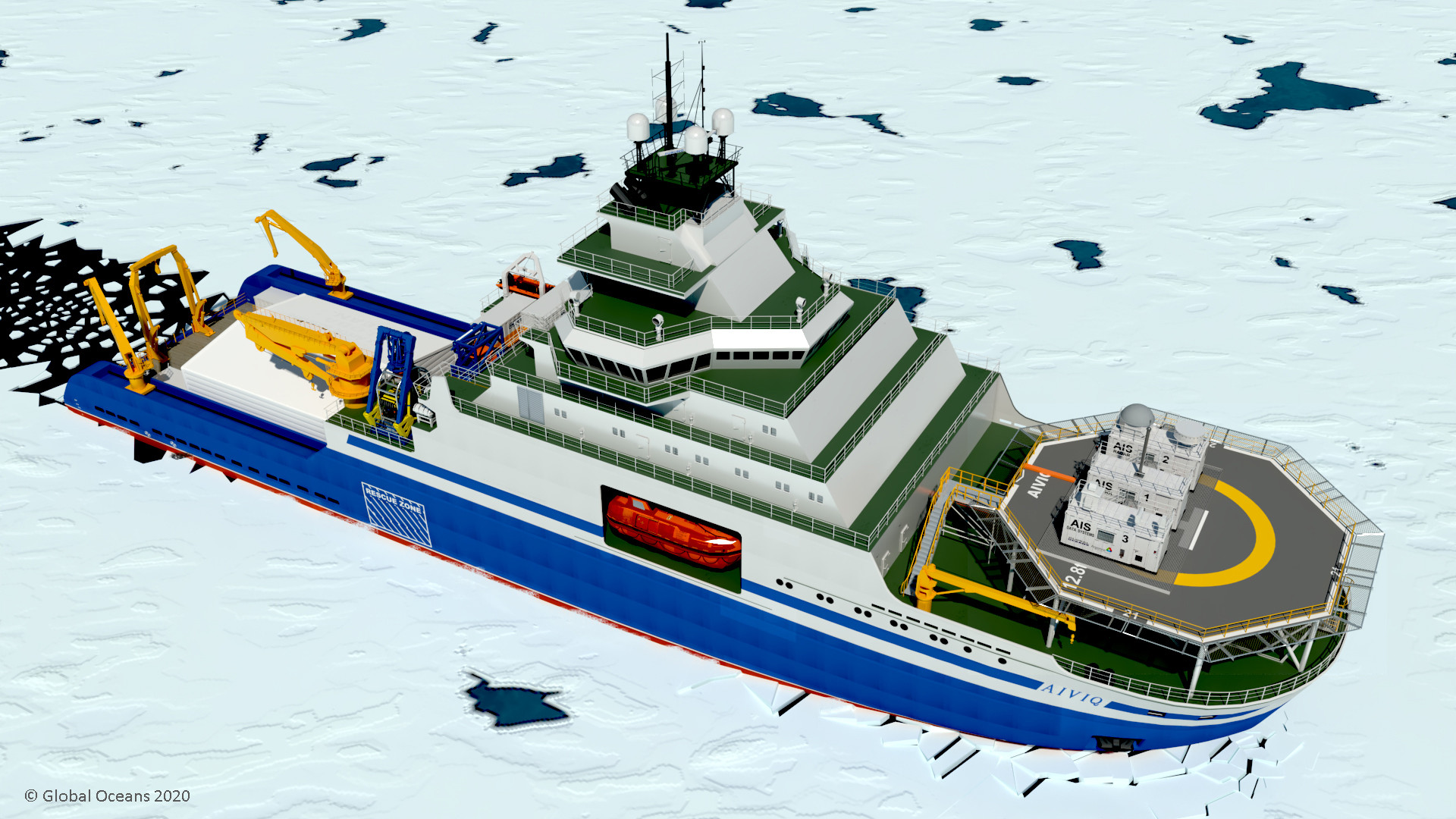 Figure 6: AIS Observatory deployed on the 110-meter Aiviq Icebreaker.