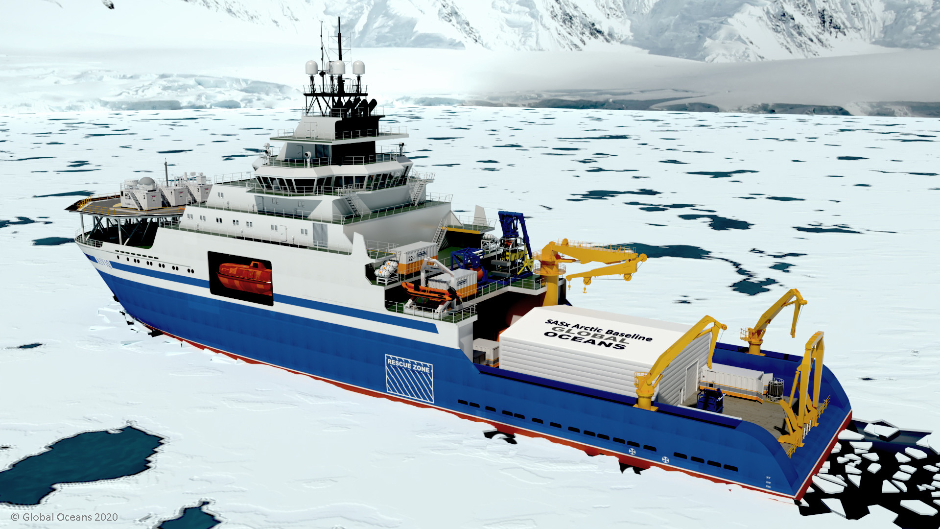 Figure 8: View of SASx expedition configuration on the Aiviq icebreaker.
