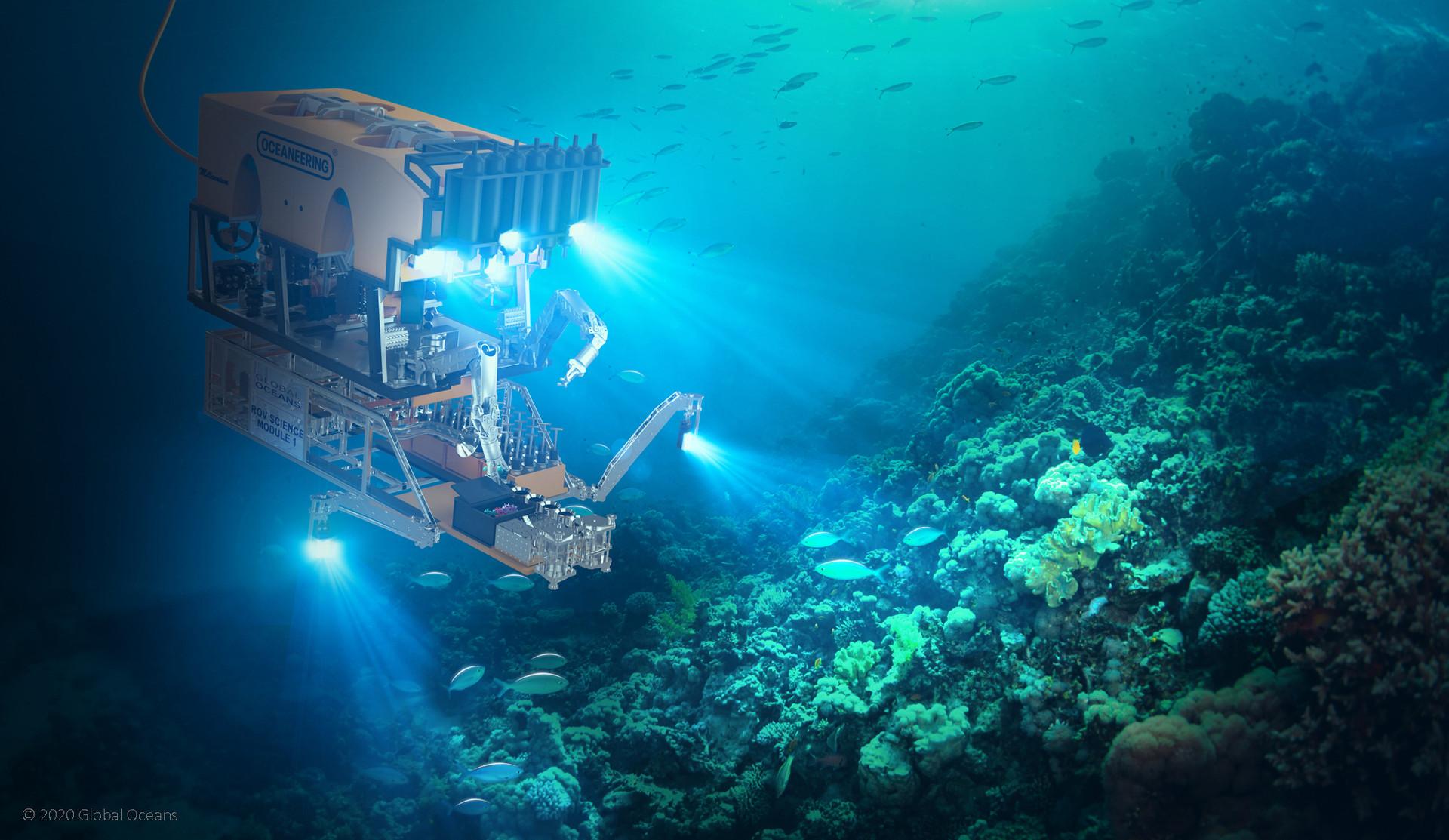 Figure 5: Global Oceans ROV Science Module attached to an Oceaneering Millennium Plus® ROV.