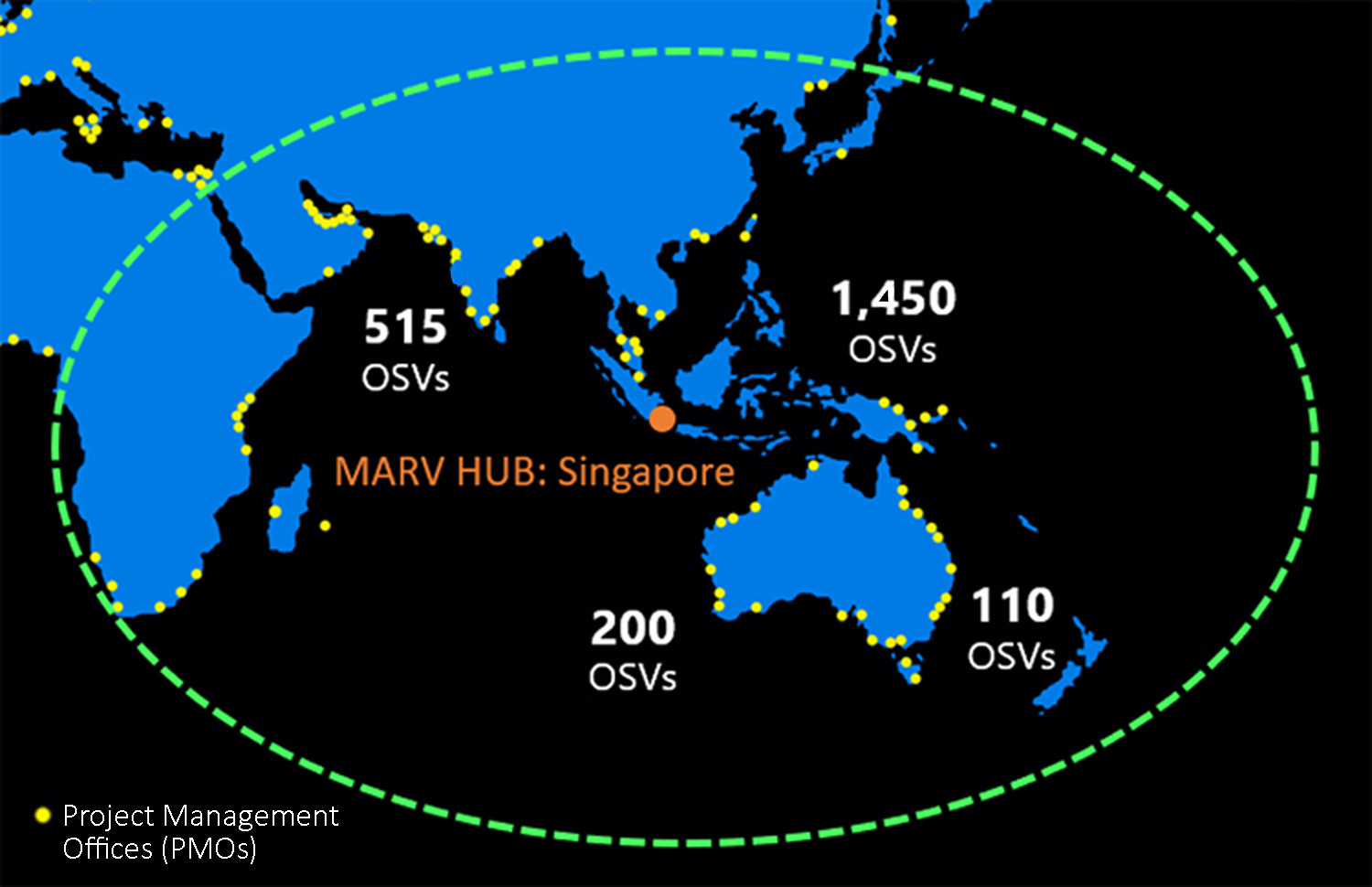 Figure 1: Centralized MARV HUB location supports regional OSV mobilization.